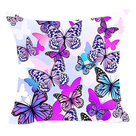 PURPLE & PINK TONES BUTTERFLY CUSHION COVER