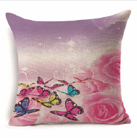 PURPLE & PINK TONES woven BUTTERFLY CUSHION COVER