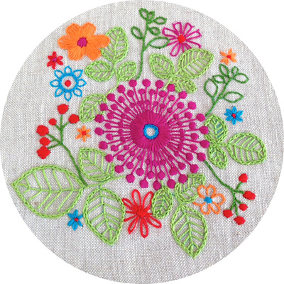 purple pinwheel embroidery kit