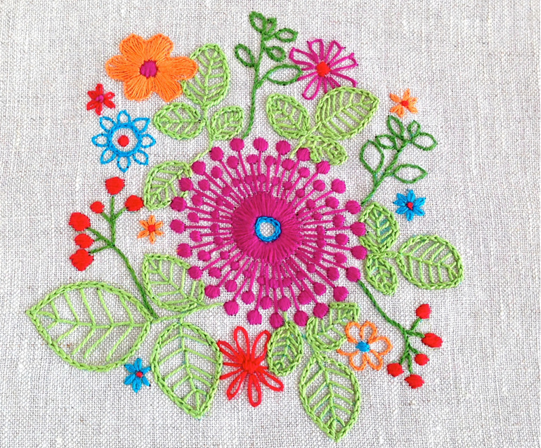 purple pinwheel embroidery pattern