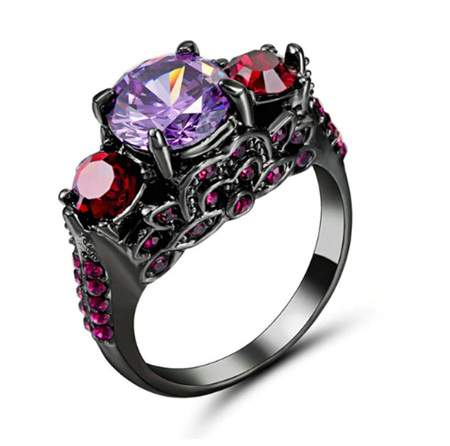 Purple & Red  Gemstone and Gunmetal Band Ring (BA106) - US8