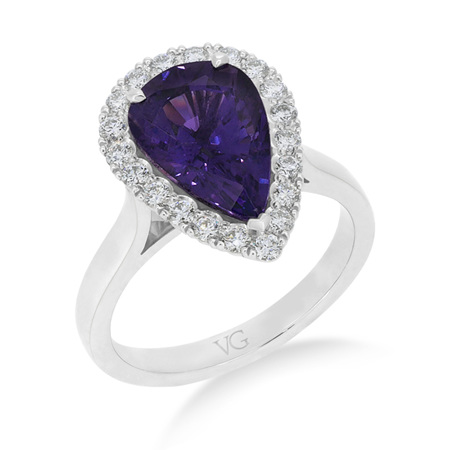 Purple Sapphire and Diamond Cluster Ring
