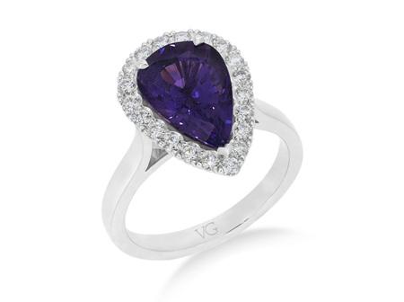 Purple Sapphire and Diamond Cluster Ring