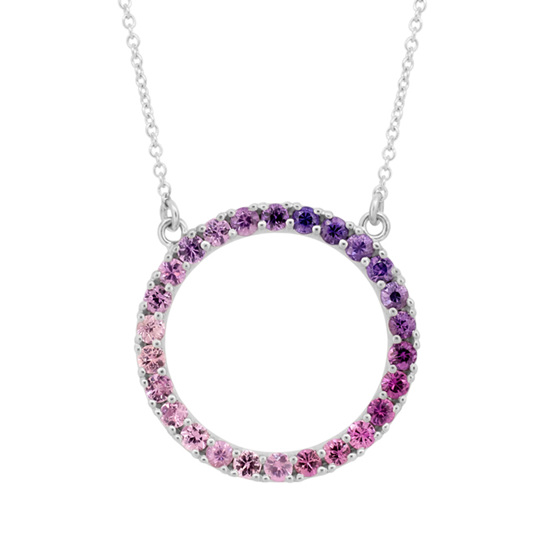 Purple Sapphire Circle Necklace
