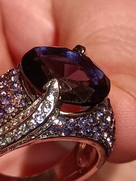 Purple & Silver Fashion Ring - US8