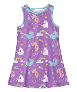 Purple Sleeveless Unicorn Dress - Size5