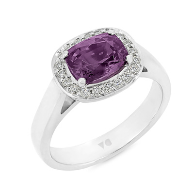 Purple Spinel and Diamond Ring