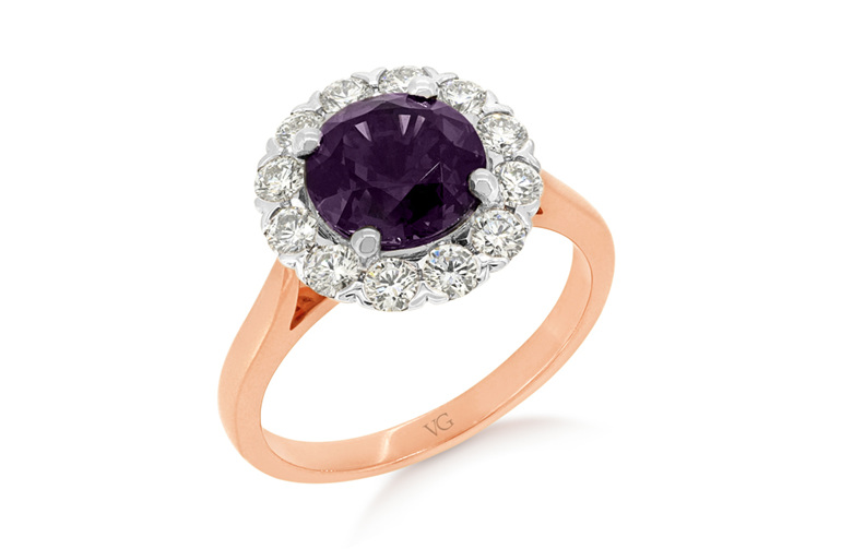Purple Spinel, Cocktail Ring, Diamond Halo Ring