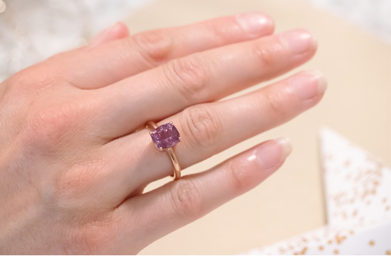 purple spinel gemstone rose gold solitaire ring