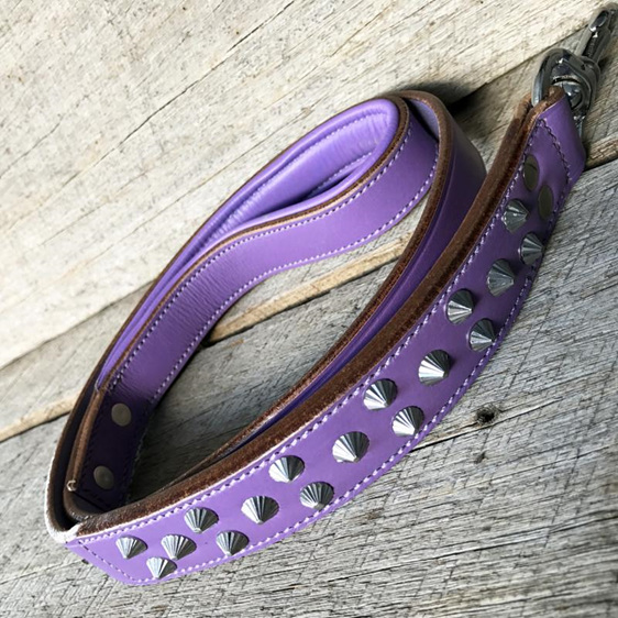 Purple Studded Leather Dog Leash for Large Dogs by Rogue Royalty