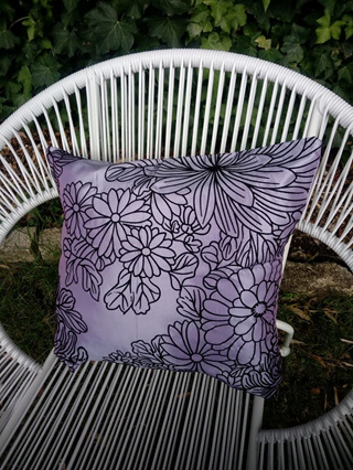 Purple With Black Pattern Floral Cushion Cover