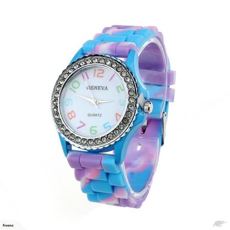 Purple/Blue Rainbow Crystal Rhinestone Silicone Watch
