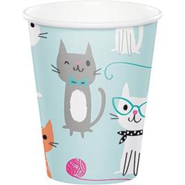 Purrfect cat cups x 8