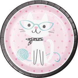 Purrfect cat plates x 8