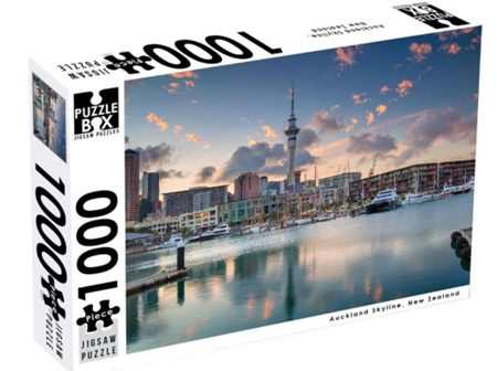 Puzzle Box 1000 Piece Jigsaw Puzzle: Auckland Skyline NZ