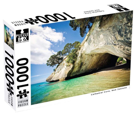 Puzzle Box 1000 Piece Jigsaw Puzzle: Cathedral Cove NZ