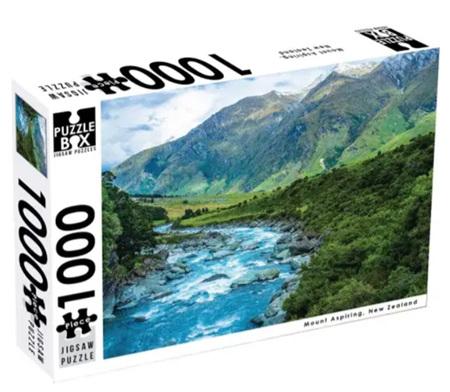 Puzzle Box 1000 Piece Jigsaw Puzzle: Mount Aspiring NZ