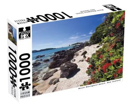 Puzzle Box 1000 Piece Jigsaw Puzzle: Mount Maunganui Beach NZ