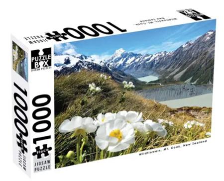 Puzzle Box 1000 Piece Jigsaw Puzzle: Wild Flowers Mount Cook NZ