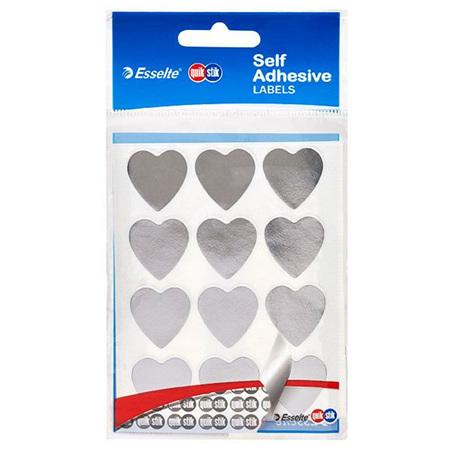 Quikstik Silver Heart Stickers