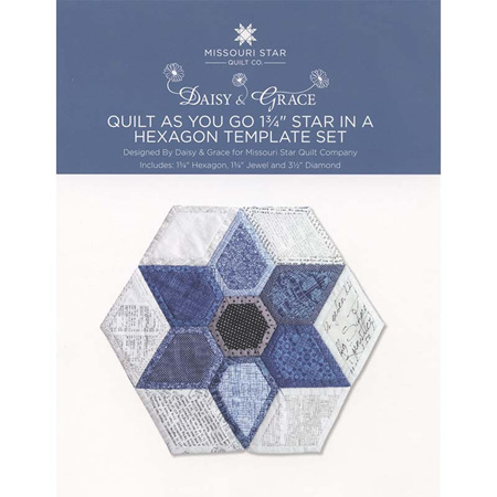 """Quilt As You Go 1 3/4"""" Star in a Hexagon Template Set by Daisy and Grace"""
