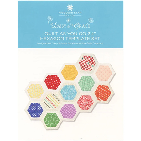 """Quilt As You Go 2 1/2"""" Hexagon Templated Designed by Daisy & Grace"""