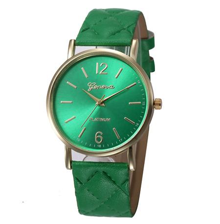 Quilt Pattern Strap Ladies Watch - Green