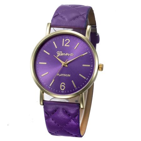 Quilt Pattern Strap Ladies Watch - Purple