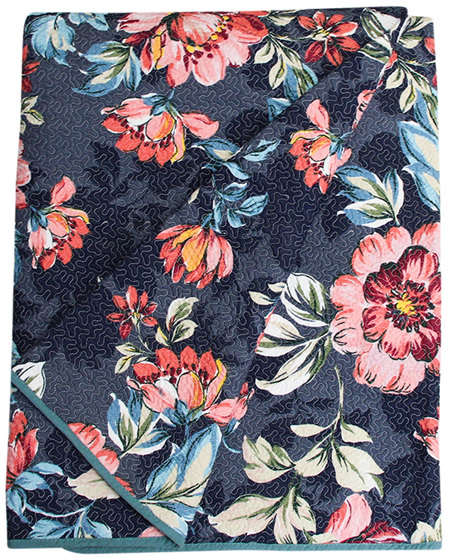 QUILTED THROW FLORAL 220X180cm