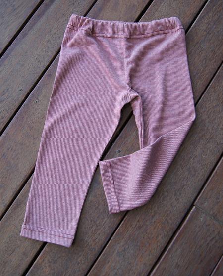 'Quinn' Leggings, 50/50 Merino/Cotton  'Beet Stripe', 3 years
