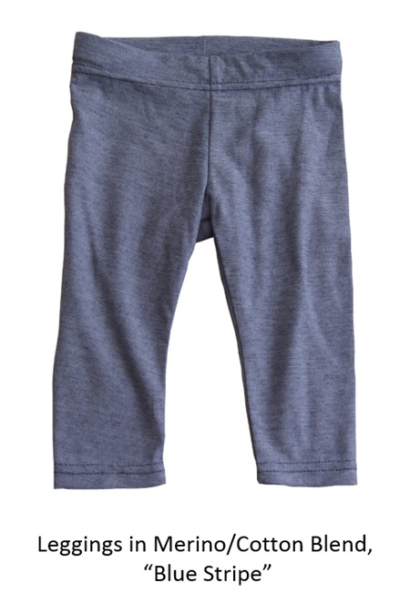 'Quinn' Leggings, 50/50 NZ Merino and Cotton, 'Blue Stripe', 4 years