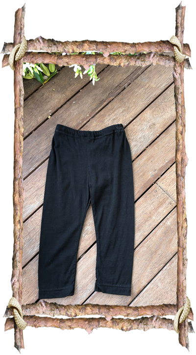 'Quinn' Leggings, 'Black' 100% NZ Merino, 2 years