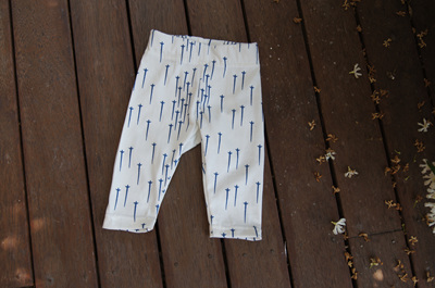 """Quinn"" Leggings, 'Blue Star' cotton knit, 0-3m"