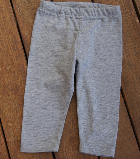 'Quinn' Leggings, 'Blue Stripe' 50/50 NZ Merino/Cotton, 3-6m