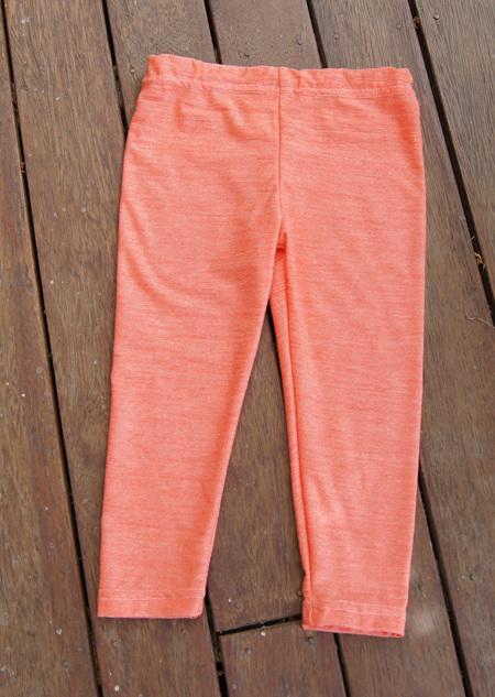 'Quinn' Leggings, 'Crazy Orange' 50/50 NZ Merino/Cotton, 2 yrs