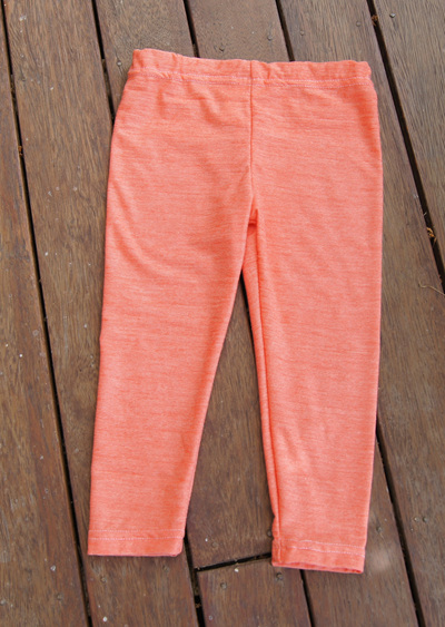 'Quinn' Leggings, 'Crazy Orange' 50/50 NZ Merino/Cotton, 3 yrs