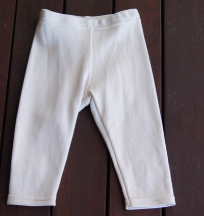 'Quinn' Leggings, Cream, GOTS Organic Cotton Knit, 3-6m