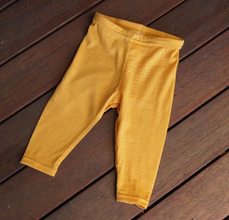 'Quinn' Leggings, 'Mustard' 100% NZ Merino, 3-6m