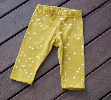 'Quinn' Leggings, 'Wink Marigold' GOTS Organic Cotton Knit, 0-3m