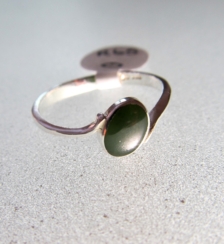 R65 simple oblique oval NZ greenstone ladies ring