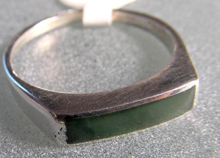 R66 Rectangular NZ Greenstone ring