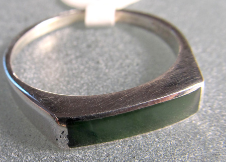 R66 Rectangular NZ Greenstone ring