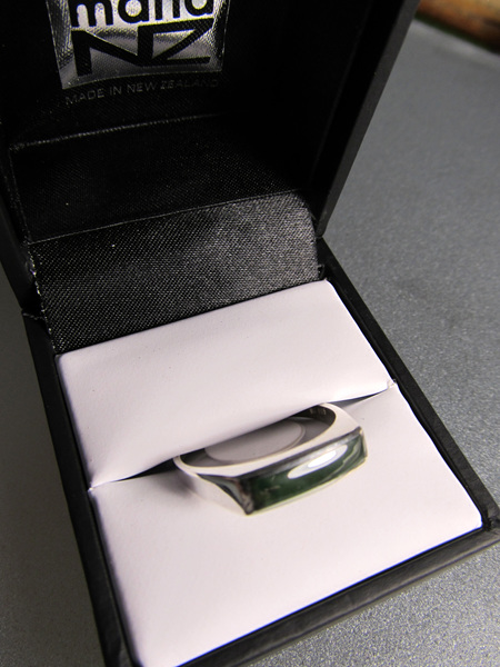 R66 Unisex greenstone rectangular sterling silver ring