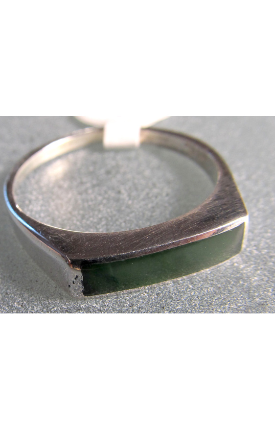 R66 Unisex greenstone rectangular sterling silver ring