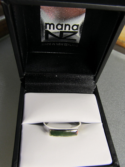 R68 Unisex greenstone slim rectangular sterling silver  ring