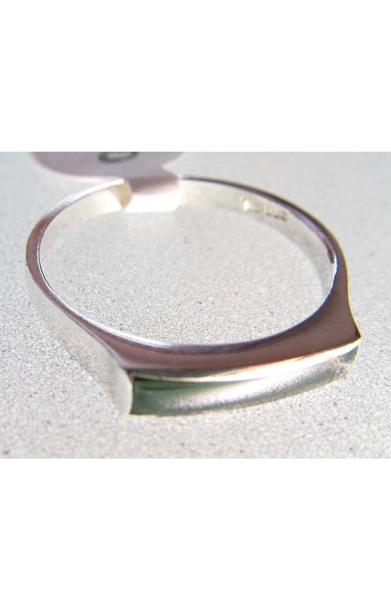 R68 Unisex greenstone slim rectangular sterling silver  ring