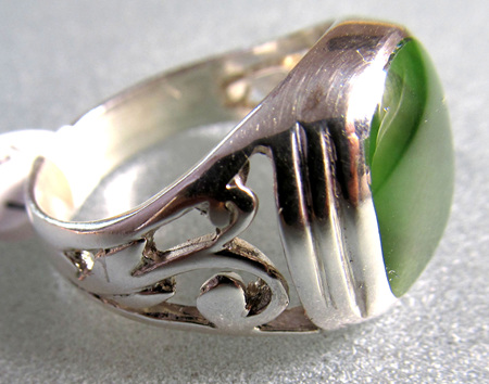 R901 Large Square NZ Greenstone ring