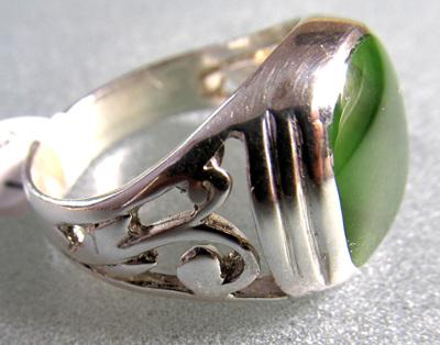 R901 Mana NZ Greenstone ring, square cushion