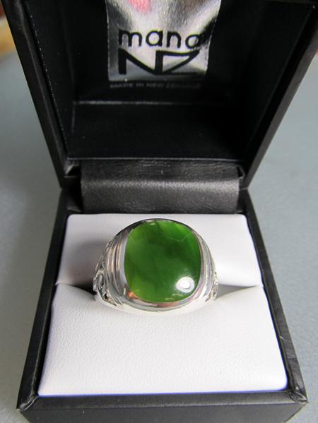 R901 Men's square cushion greenstone sterling silver ring