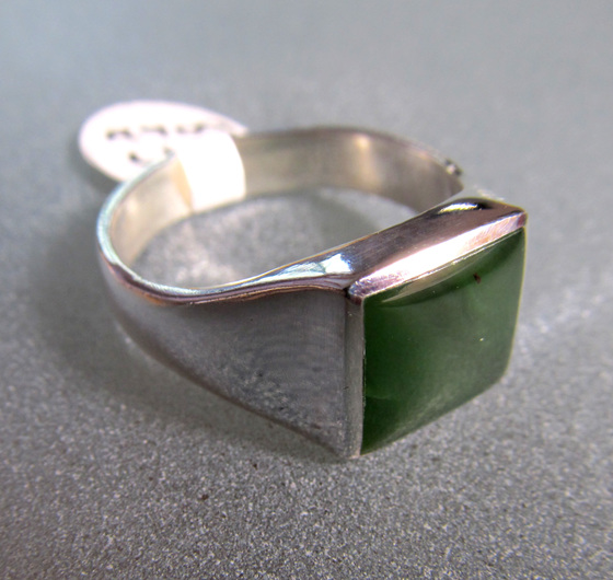 R909 Classic Square NZ Greenstone Ring